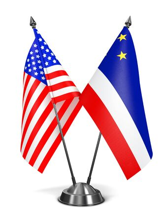 diplomatic: USA and Gagauzia - Miniature Flags Isolated on White Background. Stock Photo