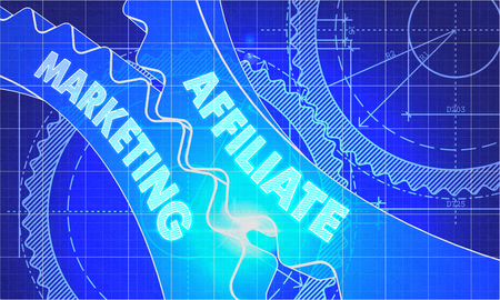 affiliate marketing: Affiliate Marketing on Blueprint of Cogs. Technical Drawing Style. 3d illustration with Glow Effect.