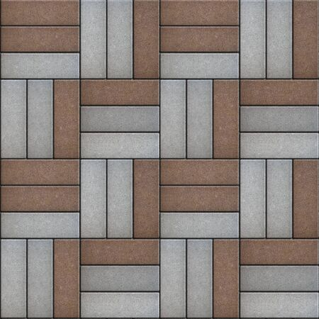 laid: Gray and Brown Pavement of Rectangles Laid Out on Three Pieces. Seamless Tileable Texture.