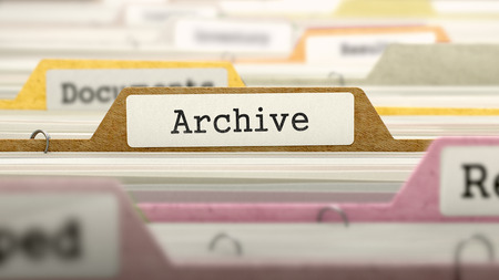 card file: Archive Concept on File Label in Multicolor Card Index. Closeup View. Selective Focus. Stock Photo