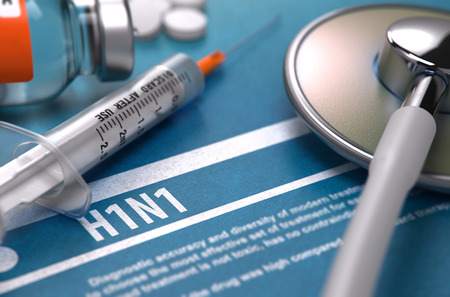 h1n1 vaccination: H1N1 - Medical Concept on Blue Background with Blurred Text and Composition of Pills, Syringe and Stethoscope. Stock Photo