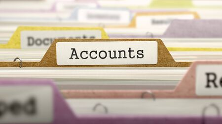remuneraciones: File Folder Labeled as Accounts in Multicolor Archive. Closeup View. Blurred Image.