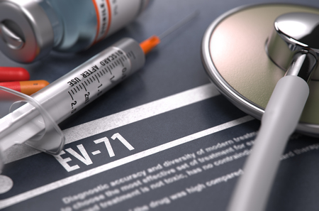 enteric: Diagnosis - EV-71. Medical Concept with Blurred Text, Stethoscope, Pills and Syringe on Grey Background. Selective Focus.