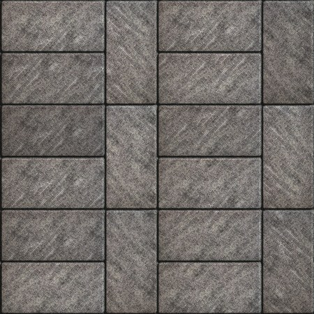 perpendicular: Rectangular Grey Scuffed Paving Slabs laid Parallel and Perpendicular. Seamless Tileable Texture.