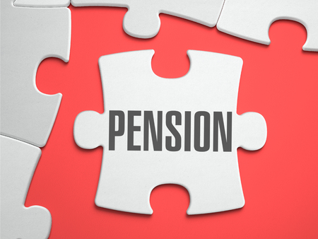 subsidize: Pension - Text on Puzzle on the Place of Missing Pieces. Scarlett Background. Close-up. 3d Illustration. Stock Photo