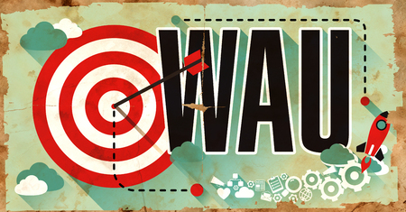 active arrow: WAU - Weekly Active Users - Concept. Poster in Flat Design. Business Concept. Stock Photo