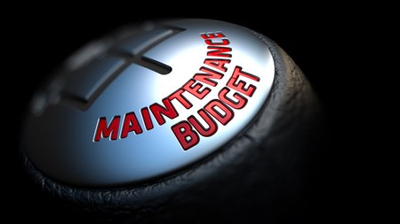 budget repair: Gear Stick with Red Text Maintenance Budget on Black Background. Selective Focus. 3D Render.