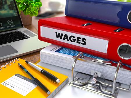 salarios: Red Ring Binder con los salarios de inscripción sobre fondo de mesa de trabajo con material de oficina, portátil, informes. Ilustración Entonada. Concepto de negocio en fondo borroso.