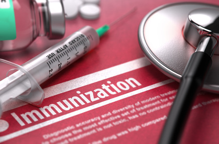 morbidity: Immunization - Medical Concept on Red Background with Blurred Text and Composition of Pills, Syringe and Stethoscope.
