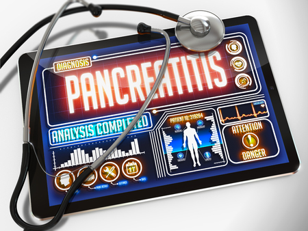 pancreatitis: Pancreatitis - Diagnosis on the Display of Medical Tablet and a Black Stethoscope on White Background.