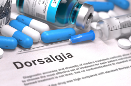 spondylitis: Diagnosis - Dorsalgia. Medical Report with Composition of Medicaments - Blue Pills, Injections and Syringe. Blurred Background with Selective Focus. Stock Photo