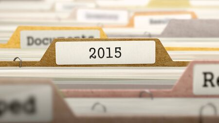 the next life: 2015 on Business Folder in Multicolor Card Index. Closeup View. Blurred Image.