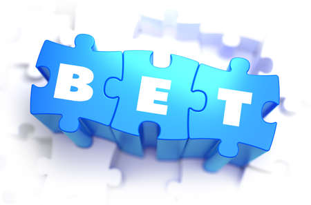 odds: Bet - White Word on Blue Puzzles on White Background. 3D Illustration.