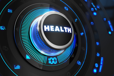 backlight: Health Controller on Black Control Console with Blue Backlight. Improvement, regulation, control or management concept. Stock Photo
