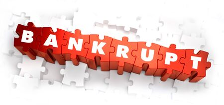 Bankrupt - White Word on Red Puzzles on White Background. 3D Illustration.