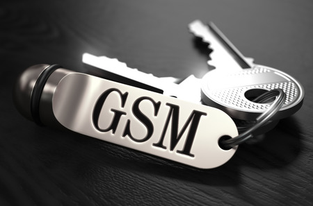 gsm: GSM - Global System for Mobile Communications - Concept. Keys with Keyring on Black Wooden Table. Closeup View, Selective Focus, 3D Render. Black and White Image. Stock Photo