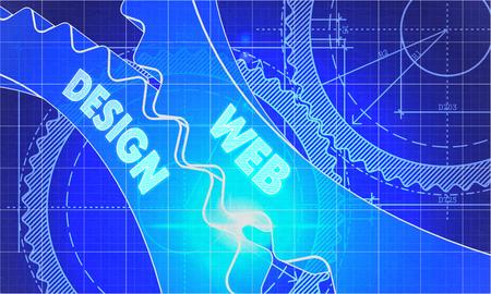 Web Design Concept. Antecedentes Blueprint con Gears. Diseño Industrial. 3d ilustración, Resplandor del objetivo. Foto de archivo - 46717698