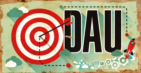 active arrow: DAU - Daily Active Users - Concept. Poster in Flat Design. Business Concept. Stock Photo