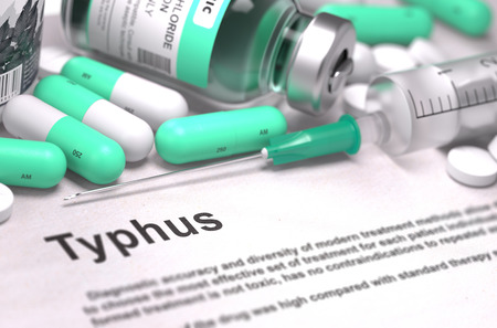 typhus: Diagnosis - Typhus. Medical Concept with Light Green Pills, Injections and Syringe. Selective Focus. Blurred Background.
