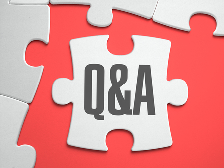 frequently asked question: Q&A - Question and Answer - Text on Puzzle on the Place of Missing Pieces. Scarlett Background. Close-up. 3d Illustration.