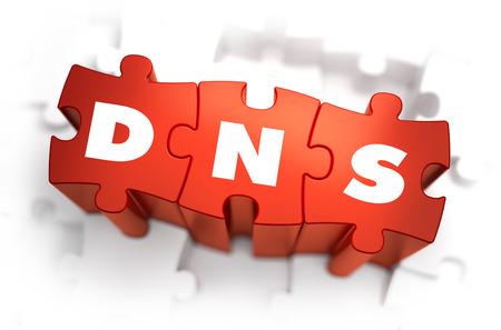 dns: DNS - Domain Name System - White Word on Red Puzzles on White Background. 3D Illustration.