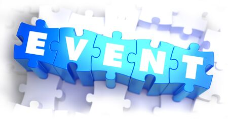 current affairs: Event - White Word on Blue Puzzles on White Background. 3D Illustration. Stock Photo