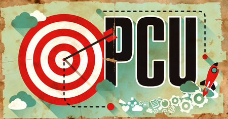 concurrent: PCU - Peak Concurrent User - Concept on Old Poster in Flat Design with Red Target, Rocket and Arrow. Business Concept.