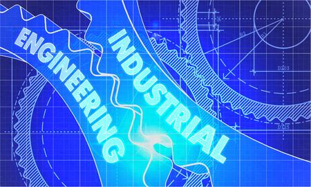 ingenieria industrial: Ingeniería Industrial sobre el mecanismo de engranajes. Estilo Blueprint. Diseño técnico. 3d ilustración, Resplandor del objetivo. Foto de archivo