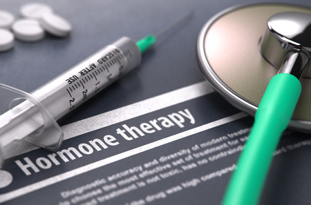 medical therapy: Hormone therapy. Medical Concept on Grey Background with Blurred Text and Composition of Pills, Syringe and Stethoscope. Selective Focus. Stock Photo