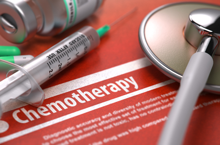 chemo: Chemotherapy. Medical Concept on Orange Background with Blurred Text and Composition of Pills, Syringe and Stethoscope. Selective Focus.