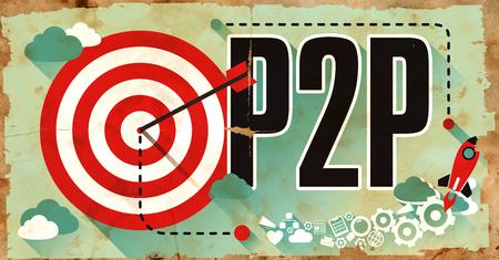 peer to peer: P2P - Intercambio de Pee- Concept. Cartel en el papel viejo en Diseño plano con largas sombras.