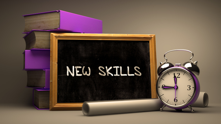 learning new skills: New Skills Concept Hand Drawn on Chalkboard. Blurred Background. Toned Image. Stock Photo