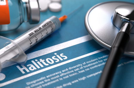 Halitosis - Medical Concept with Blurred Text, Stethoscope, Pills and Syringe on Blue Background. Selective Focus.