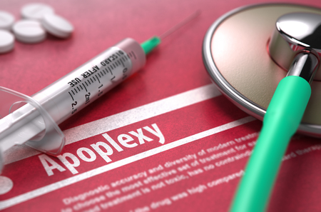 sudden death: Apoplexy - Printed Diagnosis with Blurred Text on Red Background and Medical Composition - Stethoscope, Pills and Syringe. Medical Concept. Stock Photo