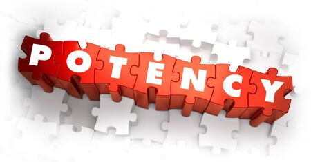 potency: Potency - White Word on Red Puzzles on White Background. 3D Render.
