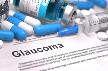 reducing: Glaucoma - Printed Diagnosis with Blue Pills, Injections and Syringe. Medical Concept with Selective Focus.