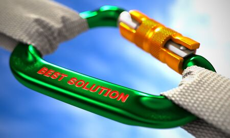 carabiner: Green Carabiner between White Ropes on Sky Background, symbolizing the Best Solution. Selective Focus. Stock Photo