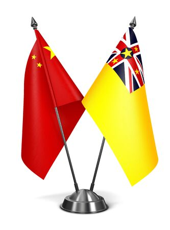 niue: China and Niue - Miniature Flags Isolated on White Background.