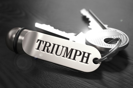 keyring: Triumph Concept. Keys with Keyring on Black Wooden Table. Closeup View, Selective Focus, 3D Render. Black and White Image.
