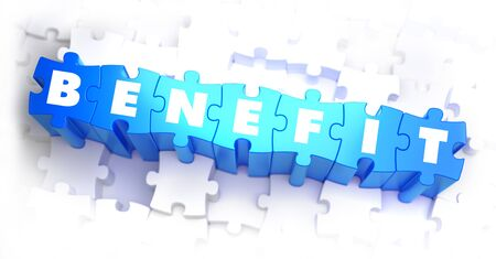dignity: Benefit - White Word on Blue Puzzles on White Background. 3D Illustration.