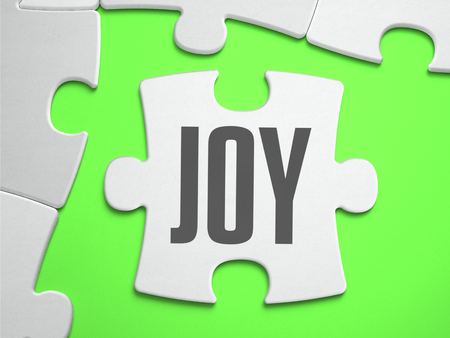 joyousness: Joy - Jigsaw Puzzle with Missing Pieces. Bright Green Background. Close-up. 3d Illustration. Stock Photo