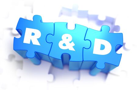 Research and Development  - Text on Blue Puzzles on White Background. 3D Render.