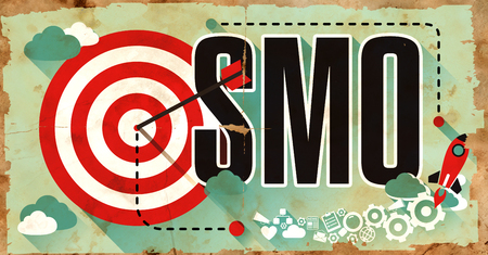 smo: SMO - Social Media Optimization - Word Drawn on Old Poster. Business Concept in Flat Design.