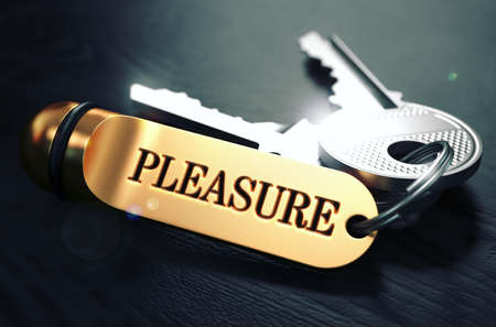 beatitude: Pleasure Concept. Keys with Golden Keyring on Black Wooden Table. Closeup View, Selective Focus, 3D Render. Toned Image. Stock Photo