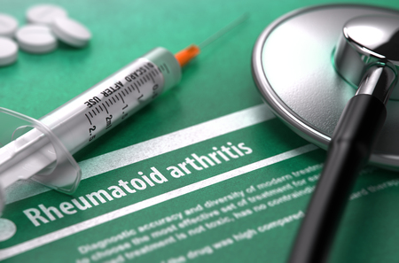 autoimmune: Rheumatoid arthritis - Medical Concept with Blurred Text, Stethoscope, Pills and Syringe on Green Background. Selective Focus. Stock Photo