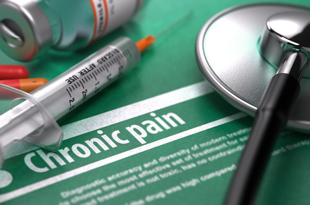 chronic pain: Chronic pain. Medical Concept on Green Background with Blurred Text and Composition of Pills, Syringe and Stethoscope. Selective Focus.