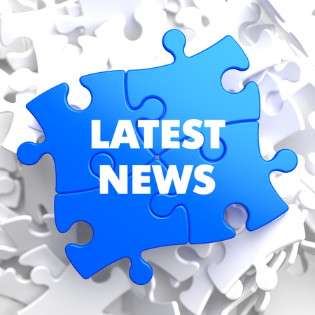 newscast: Latest News on Blue Puzzle on White Background.