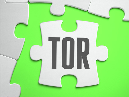 resisting: TOR - The Onion Router - Jigsaw Puzzle with Missing Pieces. Bright Green Background. Closeup. 3d Illustration.