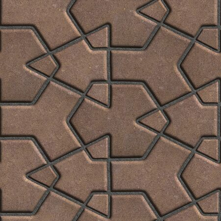 cement floor: Brown Paving Slabs Built of Crossed Pieces a Various Shapes. Seamless Tileable Texture.