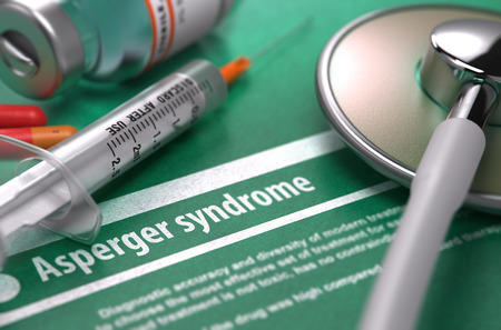 asperger syndrome: Asperger syndrome - Printed Diagnosis on Green Background and Medical Composition - Stethoscope, Pills and Syringe. Medical Concept. Blurred Image.
